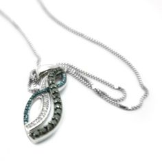"""$400 STERLING SILVER 0.34CT DIAMOND COLORED STONE NECKLACE 18"""""""