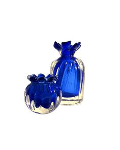 Skrdlovice Ladislav Oliva 8307 set 2 blue art glass petal