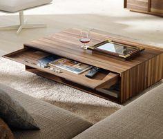 table basse moderne, rangement escamotable