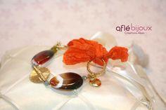 Lovely bracelet made of orange silk,  agates, green serpentine, amazonite, Akan gold weight.  #aflebijoux #bijoux #jewelry #etsy