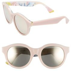 Women's Super By Retrosuperfuture 'Mona' 54Mm Retro Sunglasses (355 CAD) ❤ liked on Polyvore featuring accessories, eyewear, sunglasses, glasses, retro sunglasses, pink glasses, retrosuperfuture sunglasses, retro eyewear and mirrored lens sunglasses