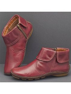 Womens Arch Support Boots Flats Vintage Casual Comfy Daily Zipper Boots Shoes US Thigh High Boots Flat, Flat Boots, Ankle Heels, Ankle Boots, Boots Online, Ankle Straps, Over The Knee Boots, Fashion Boots, Leather Boots