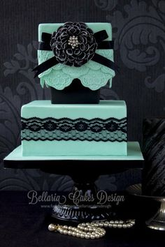 Turquoise and Black lace   Wedding Cake  ~ all edible ~ gorgeous color combination!!