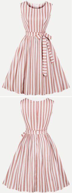 Vinfemass Retro Stripes Printing Lacing Decor Sleeveless Tank Plus Size Skater Dress 50s Dresses, Cute Dresses, Beautiful Dresses, Casual Dresses, Fashion Dresses, Vintage Dresses 50s, Retro Dress, Casual Outfits, Vestidos Vintage