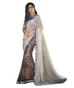 Buy Now Dull White Chiffon Georgette Festival Wear Printed Saree with Digital Printed Skirt  only at Lalgulal. Price :- 1,912/- inr. To Order :- http://goo.gl/L6COHE . COD & Free Shipping Available only in India