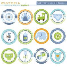 Baby Boy Cupcake Toppers  DIY Printable by WisteriaDesignStudio, $5.00