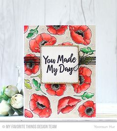 Handmade card from Yoonsun Hur featuring the Thanks So Very Much stamp set and the Lisa Johnson Designs Delicate Pretty Poppies stamp set