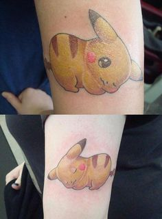 My friend Laura and I got almost matching Pikachu tattoos!They're the same size although it doesn't look it in the pictures. Mine is the bottom, hers the top.  Laura: lauraeatworld.tumblr.com  Me: letshugitoutbitch.tumblr.com