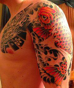 Koi 1/2 Sleeve, second session (colour), Phil Cisco, Maximum Tattoo-Deerfield, IL - Imgur