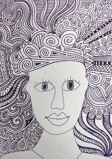Year 7's lesson today was about the use of line in art. The extension task is to try a 'crazy hair' portrait using only line to create the p...