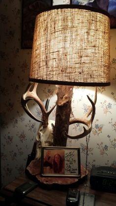 Barnwood base, whitetail shed antler, mule deer antlers on a ...