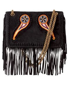 Beaded suede bag with fringe, Trussardi 1911