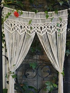 RISEON Macrame Wall Hanging Tapestry Macrame Door HangingRoom dividermacrame CurtainsWindow Curtain door curtains wedding Backdrop Arch BOHO wall decor x without bar * Visit the image link more details.macrame curtains and room dividersThis large handmade Tapestry Curtains, Large Curtains, Boho Curtains, Beaded Curtains, Hanging Curtains, Room Tapestry, Decorative Curtains, Wall Tapestries, Room Divider Walls