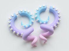 Kawaii Earrings, Octopus Gauges, Tentacle Earrings, Fake Gauges, Ear Plugs, fairy kei earrings, disney ear gauges, faux plugs