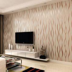 Free shipping fashion stripe silver wallpaper roll TV wall wallpaper $39.99