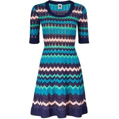M Missoni Knitted Zig&Nbsp;Zag Dress ($310) ❤ liked on Polyvore featuring dresses, vestido, blue, blue fit-and-flare dresses, m missoni, blue zig zag dress, m missoni dress and fit and flare dress