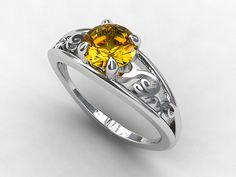 Filigree engagement ring with gorgeous Citrine by TorkkeliJewellery, $1379.00
