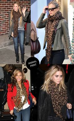 Four trendy celebrities wearing beautiful animal print scarves.