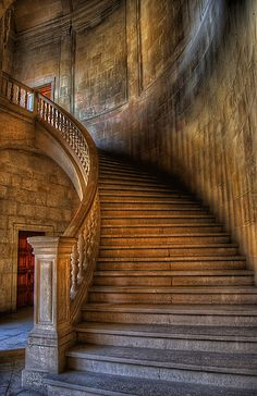 old curved staircase