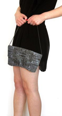 Printed Leather Clutch Bag  by worldofpineapple