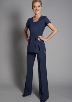 Great colour alternative to black Florence Roby   Beauty Uniforms, Beauty Tunics, Salon Wear, Salon Uniform, Spa Uniforms, Spa Wear