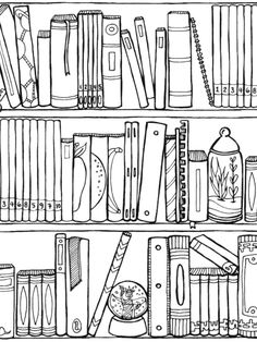Off the Bookshelf: Weirdly Wonderful Designs to Color for Fun & Relaxation Book Journal, Journals, Coloring Book Pages, Digital Stamps, Printable Coloring, Journal Inspiration, Bookshelves, Library Shelves, Bookcase