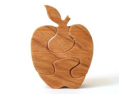 Small Wooden Apple Puzzle Toy Teacher Puzzle Fall Harvest Hand Cut Scroll Saw Cherry