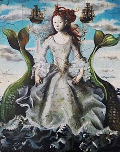 Margot Selski. This mermaid painting emphasises the dual nature of the being with clothing. The double tail is usually an attribute of Melusine.