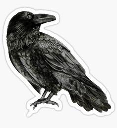 """Raven"" Stickers by Elizabeth Sharp Printable Stickers, Cute Stickers, Kawaii Stickers, Laptop Stickers, House Stark Banner, Papel Sticker, Arte Punk, Horror, Tumblr Stickers"