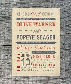 Vintage Wedding Invitation - Old Fashioned Style - Printable DIY. $25.00, via Etsy.