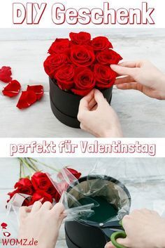 Make flowerbox yourself, perfect DIY gift - WOMZ- Flowerbox selber machen, perfektes DIY Geschenk – WOMZ This great DIY gift is perfect for Valent- Diy Flower Boxes, Flower Box Gift, Diy Flowers, Presents For Boyfriend, Boyfriend Gifts, Diy Gifts For Friends, Gifts For Kids, Diy Presents, Gifts For Brother