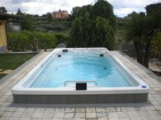 17' Endless Pool® Swim Spa mediterranean swimming pools and spas - grey with mostly in-ground install