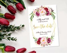 Save the Date Card - Printable PDF Download - Personalised WeddingAnnouncement Wedding Announcements, Save The Date Cards, Personalized Wedding, Wedding Stationery, Getting Married, Dating, Pdf, Printable, Invitations