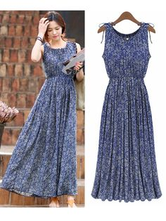 Vintage Women Sleeveless Elastic Waist Floral Long Maxi Pleated Dress at Banggood