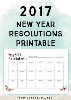 New Year resolution printable/tracker