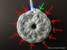 """Keeping correct stitch count @ colour in a simple life: """"The difficulty in rounds is that when you join a round you are usually working a slip stitch into the starting chain, and the result is not as neat and compact as your other stitches...... IDENTIFY THE POST OF THE STITCH, AND WORK IN A LOOP ABOVE IT, IGNORING ANY EXTRA LOOPS."""""""