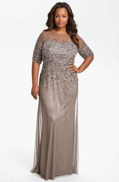 Adrianna Papell | Beaded Illusion Gown (Plus Size) #adriannapapell #plussize #gown