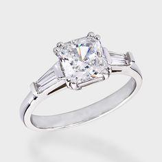 1.25 Ct. Princess Cut Baguette CZ Solitaire Engagement Ring