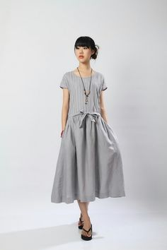 The Show Goes On-Grey linen long sundress(more colour and size choice). $68.00, via Etsy.