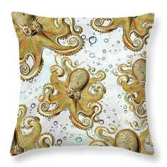 Octopus Throw Pillow Octopus Tentacle Pillow White Bubbles