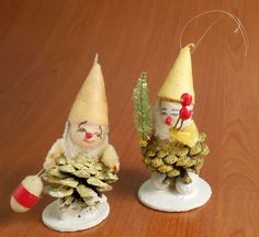 Vintage miniature elf ornaments Christmas decorations crafted out of pinecones