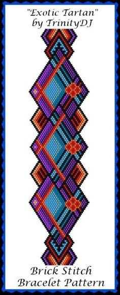 BP-BR-162 - 2016 - 083 - Exotic Tartan - Brick Stitch Beadwork Pattern,brick pattern,beadweaving tutorial, beaded bracelet, bracelet pattern