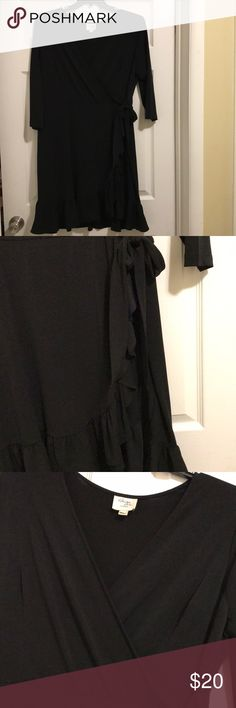 Black Ruffled V Neck Blouse Very classy! Never been worn. Beige by eci Tops Blouses