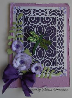 floral dragonfly card using cherry lane designs dies - selma's stamping corner