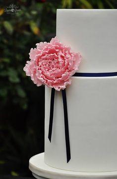 """Pink Peony Wedding Cake"" - love that flower!!"