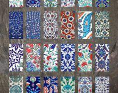 "Domino Clip Art, Iznik Tiles, Digital Collage Sheet, Turkish Iznik, Jewelry Making, 1""x2"" Crafts, Digital Downloads, domino tiles"