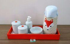 Kit Higiene Chevron Raposinha Coral BL45