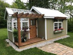 Easy to build a DIY greenhouse for your backyard. Put on your favorite garden shoes and get to it! If you're a serious gardener, you would love to get your hands on a greenhouse. So check out these easy ideas for a DIY greenhouse! Backyard Greenhouse, Backyard Sheds, Greenhouse Plans, Backyard Landscaping, Shed With Greenhouse, Backyard Buildings, Outdoor Sheds, Landscaping Ideas, Shed Makeover