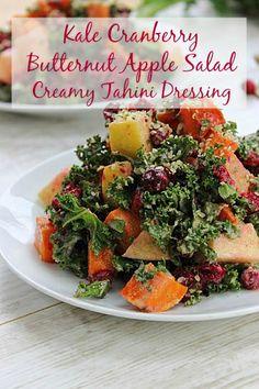 Kale Cranbery Butternut Apple Salad with Creamy Tahini Dressing - Peachy Palate