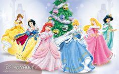 Disney Princess Christmas Belle Snow White Ariel Cinderella Aurora And Jasmine